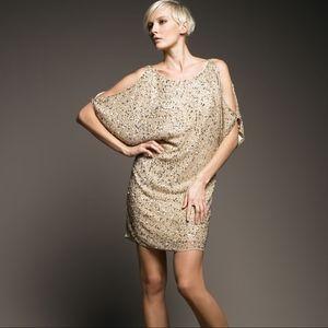Aidan Mattox Gold Sequin Cold Shoulder Dress